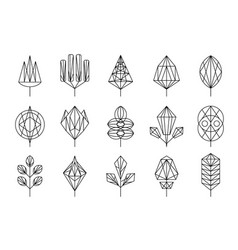geometrical leaves of trees big set collection vector image