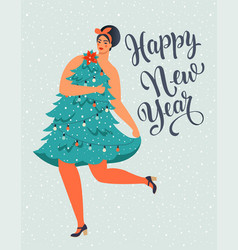 girl in christmas tree dress forms christmas vector image