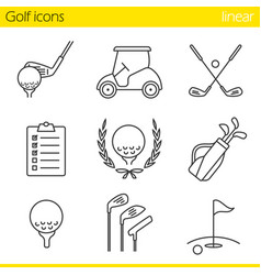 golf equipment linear icons set vector image
