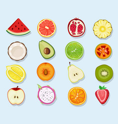 half fruits circle icons cute cartoon healthy vector image