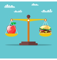 Hamburger and apple on scales vector