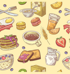 hand drawn breakfast seamless pattern with coffee vector image