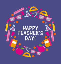 happy teacher day card celebration elements vector image
