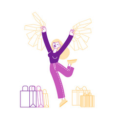 happy woman holding shopping packages cheerful vector image