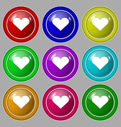 Heart Love icon sign symbol on nine round vector image