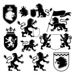 heraldic lion silhouette set vector image