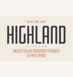 Highland condensed regular retro typeface vector