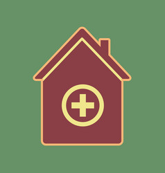 Hospital sign cordovan icon vector