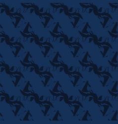 Indigo blue shibori dye seamless pattern vector
