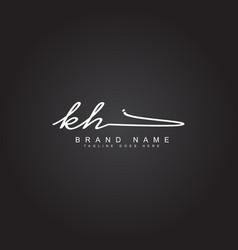 Initial letter kh logo - handwritten signature vector