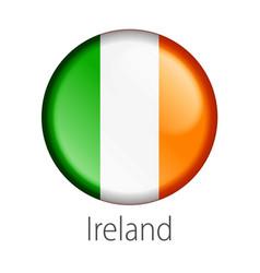 ireland round button flag vector image