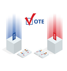 Isometric ballot box with voting paper in hole vector