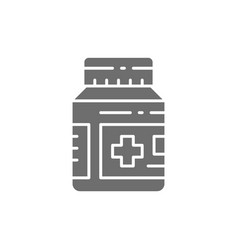 Medical jar with pills and drugs grey icon vector