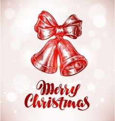 Merry Christmas Jingle bells with bow Sketch vector image