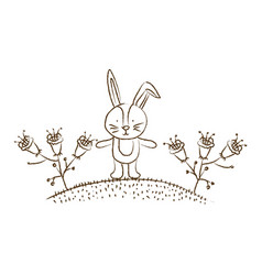 Monochrome hand drawn silhouette of bunny in hill vector