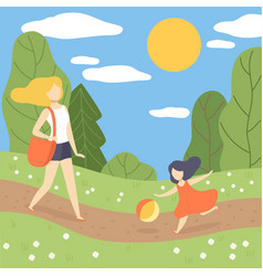 mother and her daughter walking in park young vector image