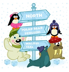 north animals near ice sign vector image