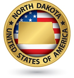 North Dakota state gold label with state map vector