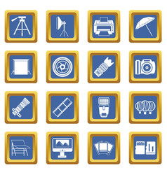 Photo studio icons set blue vector