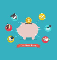 piggy bank saving money portion for life vector image