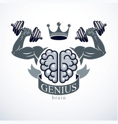 Power brain emblem genius concept design human vector