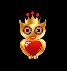 Pretty golden owl with a red heart vector image