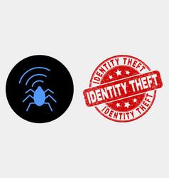Radio bug icon and distress identity theft vector