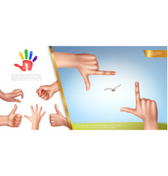 realistic hand gestures concept vector image