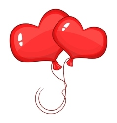 Red heart balloons icon cartoon style vector image