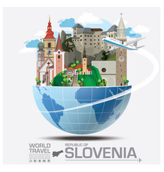 republic slovenia landmark global travel and vector image