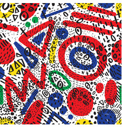 seamless pattern with abstract marker doodling vector image