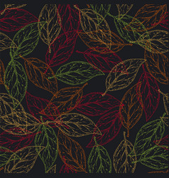 seamless pattern with color contours of leaves vector image