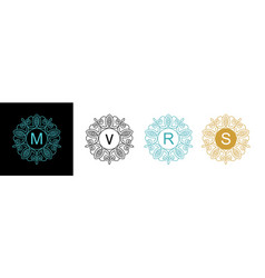Set elegant floral monogram template design round vector
