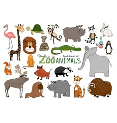 set hand-drawn zoo animals vector image