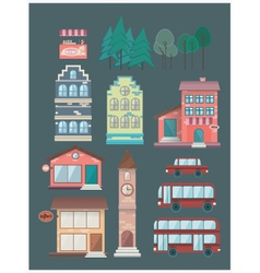 Set of buildings car bus coffee shop vector image
