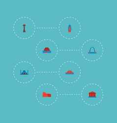 Set of monument icons flat style symbols with vector