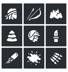 Set of Survival in the forest and mountains vector image