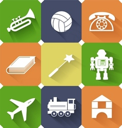 Set of toysand entertainment flat icons vector image