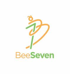 Seven bee logo design vector