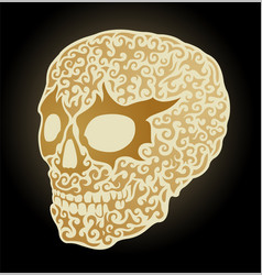 Shiny golden skull vector