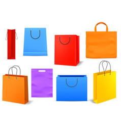 shopping bags empty bright colorful product or vector image