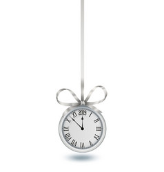 Silver clock hanging on silver ribbon with bow vector