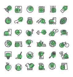 Sports and fitness outline symbols vector