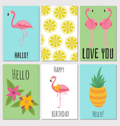 Summer kids cards with tropical fruits plants and vector