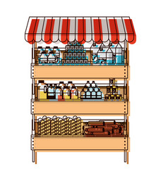 Supermarket shelf with sunshade colorful in vector