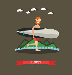Surfer with surfboard in flat vector
