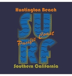 Surfing t-shirt graphic design Huntington Beach - vector
