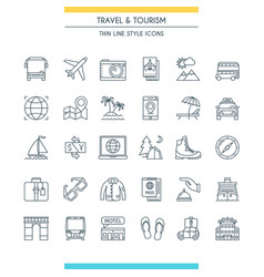 Thin line design travel icons vector