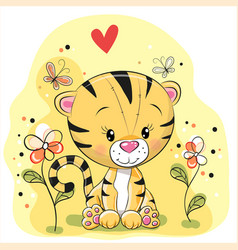 tiger with flowers and butterflies vector image