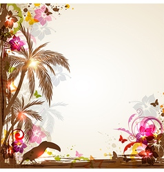 Tropical background with palms and toucan vector
